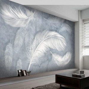 Custom 3D Hand Painted Feather Photo Wallpaper Modern Fashion Creative Living Room Bedroom Wall Art Mural Wallpapers Home Decor1