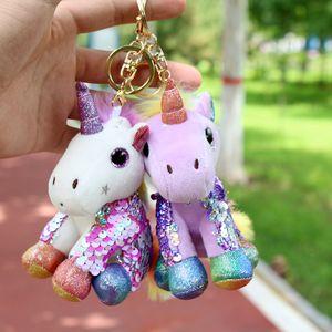 12cm Unicorn Keychain Glitter Sequins Kid Gift Key Ring Bag Girls Favor Stuffed Animals Toy Pendant Plush toy C1614