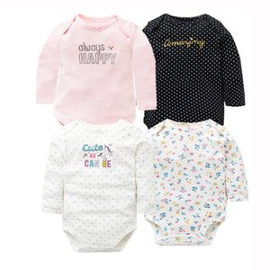 4 PCS Lot Spring Autumn Baby Rompers 100% Cotton Newborn Baby Clothes For 0-2Y Girls Boys Long Sleeve Jumpsuit Baby Clothing Set 201201