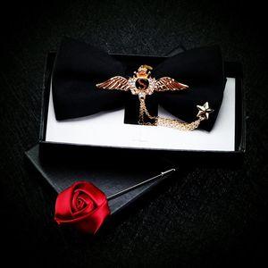 Free shipping casual men's original fashion male man Dress Black Double Bow Tie Metal Host British Fashion Bow Wine Red