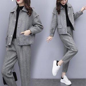 2021 New gray winter wool two pieces of define jacket + women's fashionable pantsuit pants ladies 2-bun female sets y486 1968
