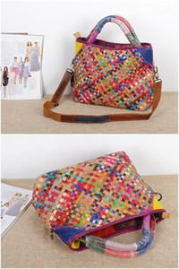 Female bag leather hand-woven bag ethnic style color stripe ladies portable messenger bag fashion storage bags