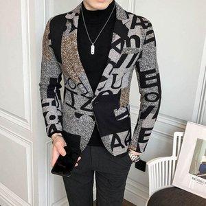 Big Letter Print WoolBlend Tweed-Blazer Männer 2020 Herbst-Winter-Kunst Männer Blazer-Jacke Slim Fit Partei-Abschlussball Verein Muster Homme
