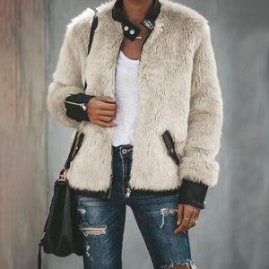 Abrigo de piel de Wome Invierno Cálido Oso de peluche Fleece Bolsillo de cuero de manga larga Slim Down Chaqueta con cremallera de sobremesa Outwear Abrigos
