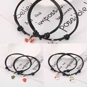 Elk 2pcs set Gloves Snowman for Women and Men Couple Bracelet Adjustable Rope Chain Bracelets Christmas Gifts 6jv1