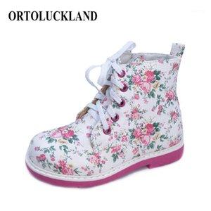 Ortoluckland Baby Girls Cuero Zapatos casuales Zapatos ortopédicos para niños niños Lace Up Blanco Primavera Otoño Invierno Boots Roman1