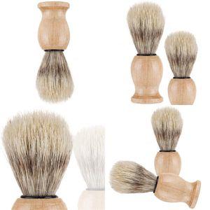 Nylon Solid Wood Shaving Brushes Mens Cleansing Tool Home Shower Room Accessories Bristles Beard Brush Indoor Household Gift Hot 5wm N2