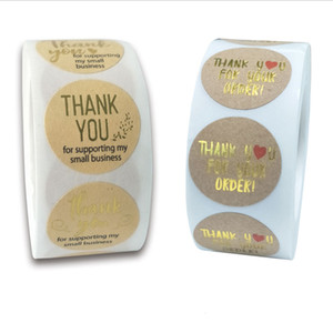 500PCS Roll 1inch Thank You For Your Order Round Adhesive Stickers Label For Holiday Baking Business Decoration