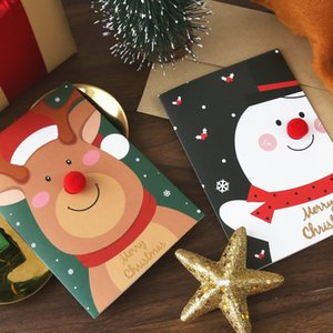 Christmas Thank You Card + Envelope Happy New Year Greeting Cards Santa Snowman Elk Printed Cartoon Xmas Blessing Message Cards