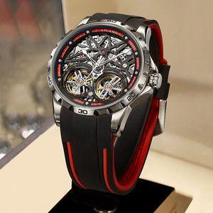 Novo Ailang 2020 Men's Watch Double Watch Automatic Hollow Machine Watch Silicone Belt Seção Homens Luminous ShotPro