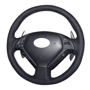 DIY Hand-stitched Original PU Leather Car Steering Wheel Cover for Infiniti G25 G35 G37 QX50 EX25 EX35 EX37 2008-2013 15in 38cm
