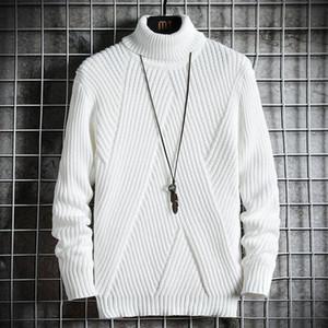Весна Осень Мужчины свитер Streetwear Япония Стиль свитер мужчин вскользь Харадзюку с длинным рукавом Мужская одежда Turtelneck мужчин