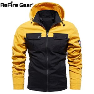 ReFire Gear Autumn Hoodie Jackets Men Spring Windproof Patchwork Color Cargo Jackets Male Casual Plus Size Many Pockets Clothes