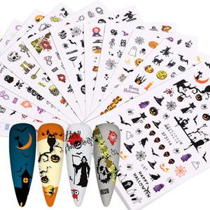 12PCS / 팩 할로윈 네일 아트 스티커 믹스 호박 유령 악마 해골 자체 접착 3D 슬라이더 네일 데칼 랩 장식 디자인