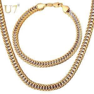 U7 اثنين من لهجة لون الذهب قلادة مجموعة فرانكو سلسلة قلادة سوار الرجال مجموعة مجوهرات بالجملة نمط الشرير S707