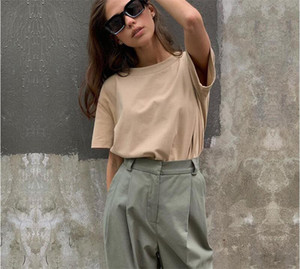 Liva Girl 100% Cotton Basic T Shirt Women New Fashion Oversized Solid Tees Casual Loose Tshirt Korean O Neck Female Tops 9 Color