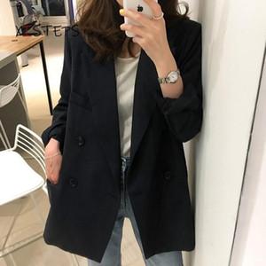 Trajes de mujer Blazers Chic Black Blazer Mujeres 2021 Primavera Otoño Traje Femenino Profesional Oficina Trabajo Oficio Ropa Formal Chaqueta Flojo Abrigos