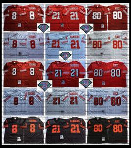 Vintage Herren 8 Steve Young 21 Deion Sanders 80 Jerry Rice Rot 75. Fußball Jersey Stickerei Shirts Schwarz AC7