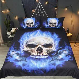 Drop shipping Boys Sets Digital Printing Bedding Set Duvet Cover Queen King 3D Printed Skull flame Blue Fire