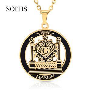 SOITIS Livre-mason Hip Hop de aço inoxidável do mestre passado Masonic gratuito Mason Maçonaria Pingentes Mason colares da cor do ouro