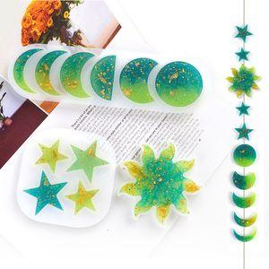 DIY Moldes de silicona de resina epoxi Luna Star Sun Molde Ornamento manual Colgante Molde blanco Transparente Nuevo 2 5HJ G2