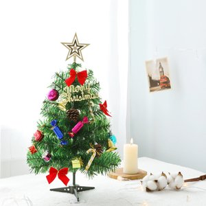 50см Мини Рождественская елка с огнями Малые аксессуары Bow Bells Pine Cone Подарки Рождество Desktop Новый год украшения