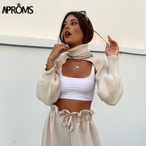 Aproms Elegant Turtleneck Women's Knitted Sweaters Autumn Spring Lantern Sleeve High Street Fashion White Pullovers 2020 Jumpers