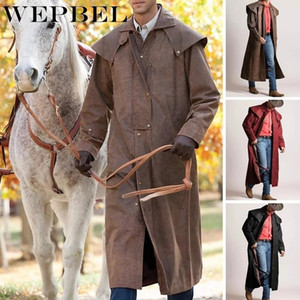WEPBEL Cowboy Leather Duster Coat Vintage Style Winter Frockcoat Full Sleeve Retro Inverness Greatcoat Steampunk Riding Jacket