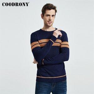 Maglione di marca coodrony uomo casual a strisce o-collo pull homme autunno inverno cotone pullover maschile Jersey hombre maglieria camicia C1006 201221