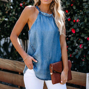 Висячие шеи Холтер джинсы рубашки Женщина 2020 лето Европа Америка Streetwear Sling Sexy Cowboy синий Denim Jacket футболки жилет