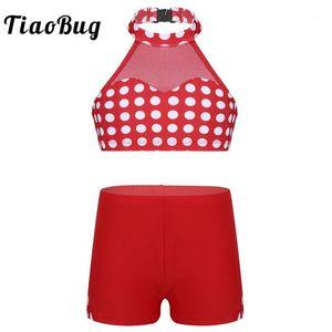 TiaoBug Kids Teens Halter Polka Dots Mesh Splice Ballet Gymnastics Crop Top with Shorts Sports Set Children Girls Dance Costume1