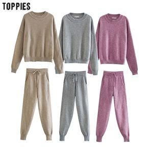 Toppies kış örme iki parçalı set kadınlar 201015 için eşofmanlar yüksek bel jogging yapan kalem pantolon kıyafetler womens