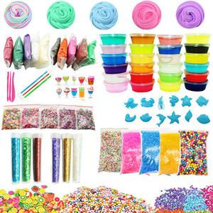 24 Colors DIY Slime Kit Supplies Clear Crystal Slime Making Kit Slime Foam Beads Glitter Fruit Slices Fishbowl Beads Included LJ200922