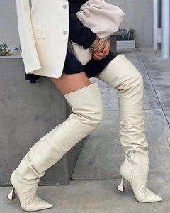 Seksi Şeffaf Garip Topuk Uyluk Yüksek Boots 2020 Yeni Parti Nightclub Ayakkabı Kadın Kalite Pileli Deri Dizden sonra Cizme