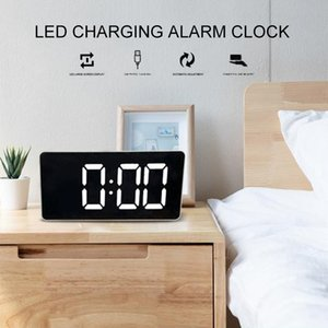Digital Alarm Clock LED Mirror Clock Multifunction Snooze Display Time Night LCD Light Table Desktop USB Cable Alarm Clock