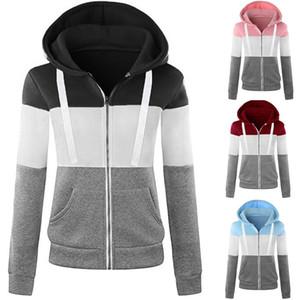 Femmes Blouses Sweats à capuche Sweat-shirt à manches longues Sport Contrast couleur Patchwork Zipper capuche Pocket Femme Top jacket