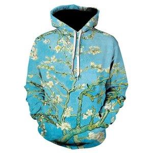 Hot Almond Blossom 3D-Druck Hoodies Retro Hip Hop Pullover GoghÖlgemälde Hoodie Neuheit Street Lustige Herren-Jacke