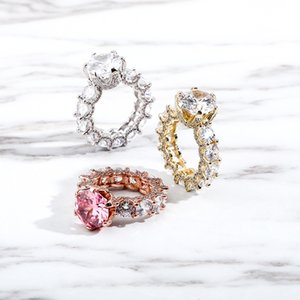 Hip Hop Claw Set Round Cubic Zirconia Rings Ladies 1 Row CZ Bling Iced Out Finger Ring for Women Charm Rock Jewelry