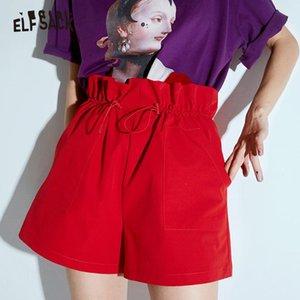 ELFSACK Red Fest mit hoher Taille beiläufige Frauen Shorts 2020 Autumn ELF Pure Fashion Streetwear Frauen Wide Leg Hot Short Bottoms