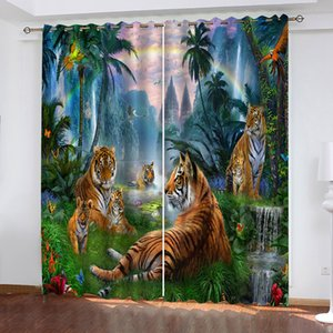 3D Curtain Photo Customize Size Beautiful Landscape Painting Rainbow Animals Window Curtains For Bedroom Living Room