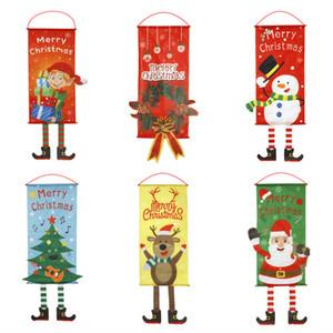 2020 أعلام المعلقة عيد الميلاد جميل ميلاد سعيد الحلي ديكور المنزل السنة الجديدة مغطاة متجر مول تسجيل عيد الميلاد باب ديكور معلق أعلام VT1826