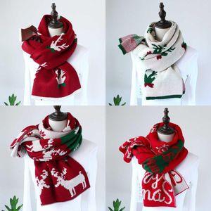 DHL корабль Красного Мультфильм Рождество Элк вязать шарф Женщины Мужчины вязать девушку шарфы Велоспорт шарфы Открытого Xmas Зимних шарфы FY6183
