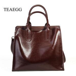 borsa TEAEGG Donne Vera Pelle femminile genuino della pelle bovina Messenger Bag Lady Tote casuale