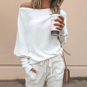 Batwing sleeve casual loose sweater tops pullover Fashion autumn off shoulder knitted sweater Solid grey white knitwear jumper Y200116