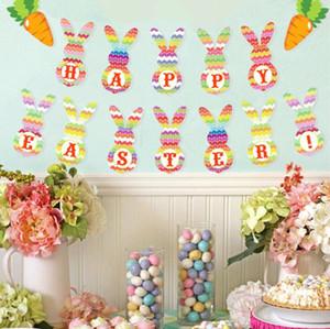 Bandiere di Bandiera di Pasqua a forma di coniglio appeso Bandiere di tema di Pasqua felice per il compleanno festa di Pasqua decorazione della casa YYS3835