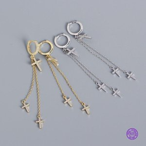Boucles d'oreilles Tassel pour femmes Style coréen 925 Sterling Sterling Cross Cross Boucles d'oreilles Diamant Tassel Design Boucle d'oreille Boucle d'oreille Boucle d'oreille Argent