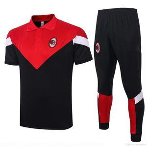 20 21 New AC soccer tracksuit short sleeve training shirts IBRAHIMOVIC Polos Milan soccer jerseys S-2XL