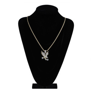 Hip Hop Gold Color Plated Copper Iced Out Micro Paved Cz Eagle Pendant Necklace Men Charm Jewelry Th jllDMk bdecoat