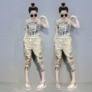 Women 2 Pcs Tracksuit Spring Summer Letters Retro Print Stretched Blouses Tees Tops And Harem Pants Sets Suit Clothing Set NS715 201007