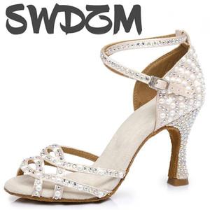 Pearl горный хрусталь Латинской обувь танца для женщин девушки дамы бальных танцев обувь сексуальный банкетные высокие каблуки 5-10см сандалии
